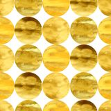 Hand-drawn watercolor seamless pattern with golden hand-drawn circles Stock Images