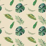 Hand-drawn watercolor seamless pattern. Green tropical leaves.  stock illustration