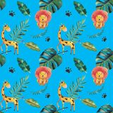 Hand-drawn watercolor seamless pattern. Green tropical leaves and wild animals stock illustration