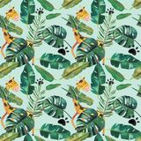 Hand-drawn watercolor seamless pattern. Green tropical leaves and wild animals.  vector illustration