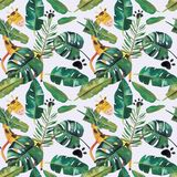 Hand-drawn watercolor seamless pattern. Green tropical leaves and wild animals.  stock illustration