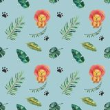 Hand-drawn watercolor seamless pattern. Green tropical leaves and wild animals.  royalty free illustration