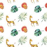 Hand-drawn watercolor seamless pattern. Green tropical leaves and wild animals on white background vector illustration