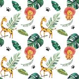 Hand-drawn watercolor seamless pattern. Green tropical leaves and wild animals on white background.  stock illustration