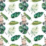 Hand-drawn watercolor seamless pattern. Green tropical leaves and a zebra on white background royalty free illustration