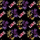 Love seamless pattern. Disco night. Abstract background. Puple and yellow colors and love lettering. stock images