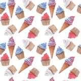Watercolor seamless pattern with red, blue and white cupcakes and ice cream stock photo