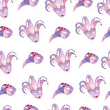 Hand drawn watercolor seamless pattern with venetian masks Stock Image