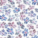 Hand drawn watercolor seamless pattern with violet and blue bach. Elor buttons on white background royalty free illustration