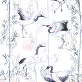 Hand-drawn watercolor seamless pattern with white Japanese dancing cranes. Repeated background with delicate birds  and bamboo Royalty Free Stock Photo