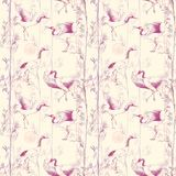 Hand-drawn watercolor seamless pattern with white Japanese dancing cranes. Repeated background with delicate birds and bamboo Stock Photo