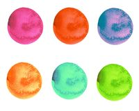 Watercolor set of bright multicolor round shape brush strokes stock illustration