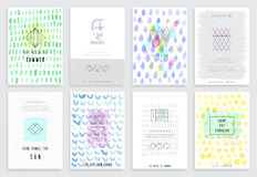 Hand drawn watercolor set of cards. Stock Images