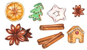 Hand drawn watercolor set of Christmas sweets royalty free illustration