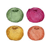 Hand drawn watercolor set of colorful balls of yarn Royalty Free Stock Photo