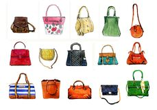 Hand drawn watercolor set of colorful stylized female bags royalty free illustration