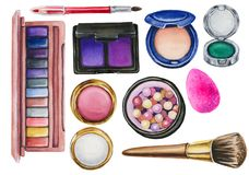Watercolor set of cosmetics stock images