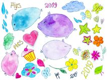 Hand drawn watercolor set with cute colorful pig. stock illustration