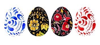 Hand drawn watercolor set of easter eggs in russian style. On white background Stock Image