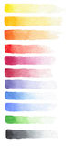 Hand drawn watercolor set of fading strokes of different colors Stock Photos
