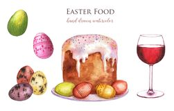 Easter Food. Hand drawn watercolor set of holiday Easter food: Easter cake, colored eggs, a glass of red wine. Christian holiday dishes Vector Illustration