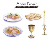 Jewish food. Hand drawn watercolor set of holiday Jewish food. Seder Pesach dishes: gefilte fish, matzah, wine, matzo balls soup. Passover dinner Stock Illustration