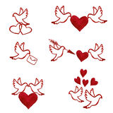Hand drawn watercolor set of love pigeons. Vector illustration in eps8 format Royalty Free Stock Image