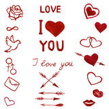 Hand drawn watercolor set of love symbols Stock Image
