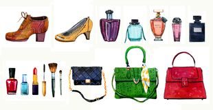 Hand Drawn Watercolor Set Of Different Women Bags, Shoes, Perfume Bottles And Cosmetics Stock Photo