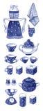 Hand drawn watercolor set of retro blue kitchenware Stock Image