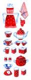 Hand drawn watercolor set of retro kitchenware Royalty Free Stock Photo