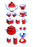 Hand drawn watercolor set of retro red kitchenware Royalty Free Stock Photo