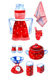 Hand drawn watercolor set of retro red kitchenware Stock Image