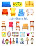 Hand drawn watercolor set of stylized furniture for living room royalty free illustration