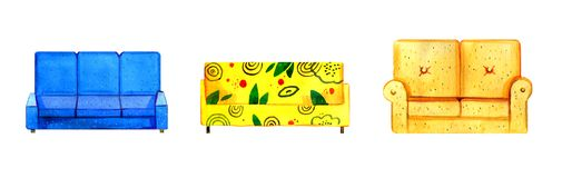 Hand drawn watercolor set of stylized colorful sofas stock illustration