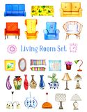 Hand drawn watercolor set of stylized furniture and objects for living room royalty free illustration