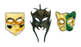 Hand drawn watercolor set of venetian masks. On white background Royalty Free Stock Images
