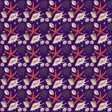 Hand drawn watercolor shells seamless pattern royalty free illustration