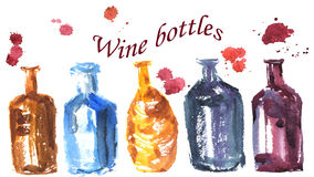 Hand-drawn watercolor sketch set in the technique , which consis. Ts of different shaped bottles Vector Illustration