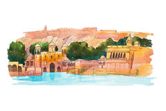 Hand-drawn watercolor sketch of Water Palace, lake Jaipur in India.  Stock Images