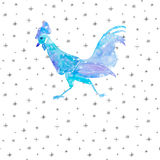 Hand drawn watercolor Snow Rooster for New Year 2017 royalty free illustration