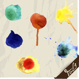Hand drawn watercolor splashes set. Stock Image