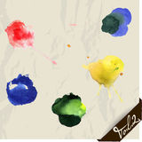 Hand drawn watercolor splashes set. Royalty Free Stock Photography
