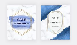 Hand drawn watercolor stain cover backgrounds with geometric frames, marble texture and golden polygonal lines. Templates for wedd royalty free illustration