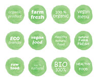 Hand drawn watercolor stickers and badges for organic food. Restaurant,packaging and natural products. Vector illustration set for graphic and web design royalty free illustration