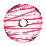 Hand drawn Watercolor Strawberry Donuts on white background for decorative and design, pattern , packaging royalty free illustration
