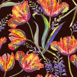 Watercolor summer floral seamless pattern. Hand-drawn watercolor summer floral seamless pattern with vibrant colorful tulips and hyacinth. Fresh bright flowers Stock Illustration