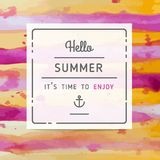 Hand drawn watercolor summer label Stock Photography