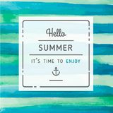 Hand drawn watercolor summer label Royalty Free Stock Photos