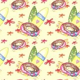 Hand drawn watercolor summer seamless pattern royalty free illustration